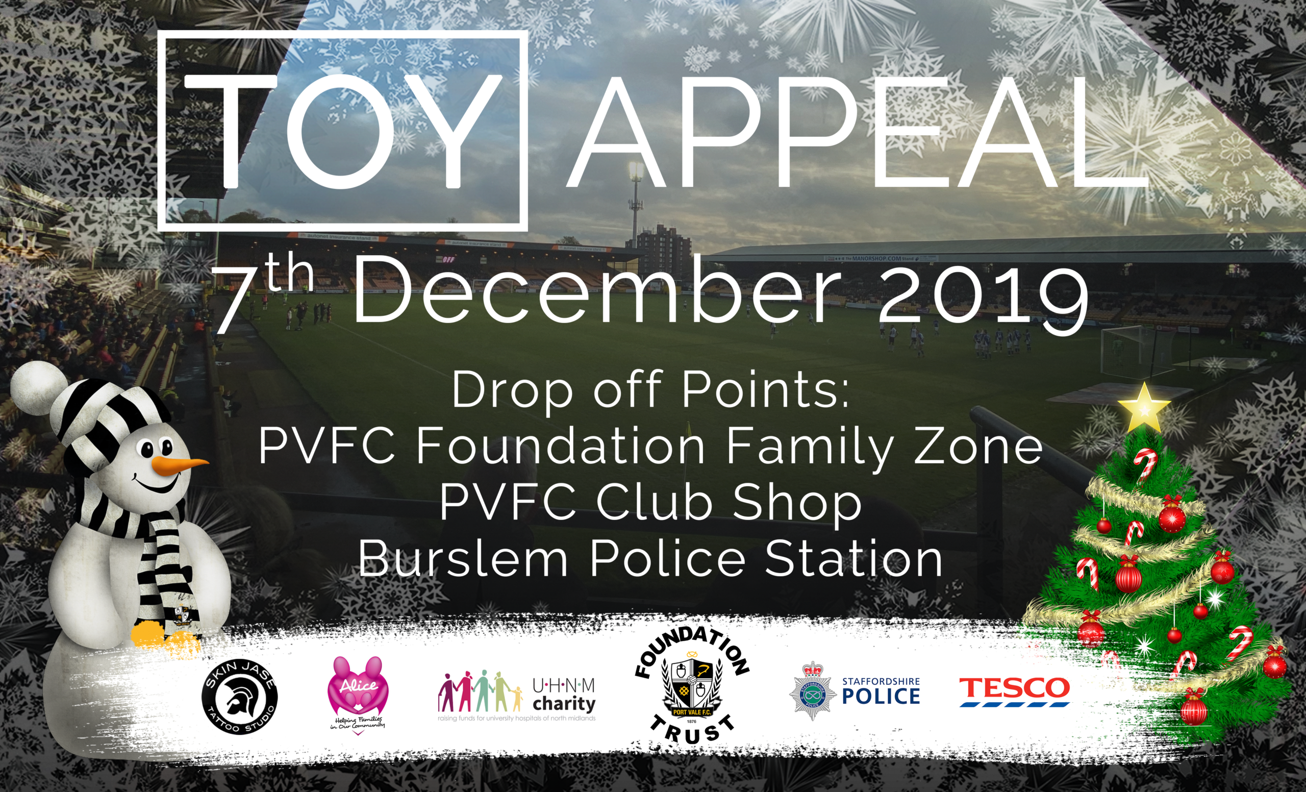 PORT VALE FOUNDATION PARTNERING WITH STAFFORDSHIRE POLICE AND  LOCAL TATTOOIST JASON POWNER FOR CHRISTMAS TOY APPEAL.